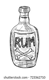 Bottle of rum. Black isolated on white background. Hand drawn sketch. Vector illustration.