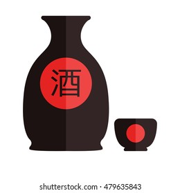 Bottle of sake, small cup of sake isolated on white background. Vector illustration. Flat design. Translation hieroglyph: sake.