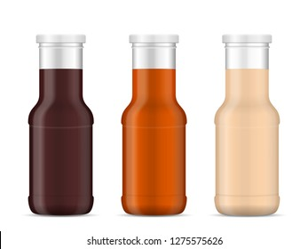 Bottle with sauce on a white background.