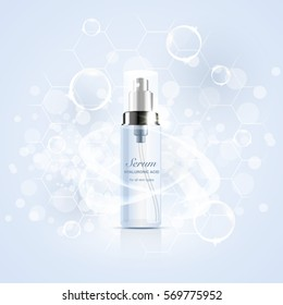 bottle of serum with hyaluronic acid, advertising design template cosmetics