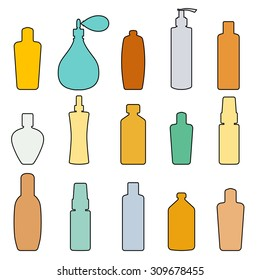Bottle set doodle, vector illustration. Isolated on white