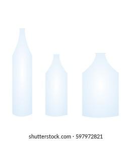 bottle shape blue plastic and glass