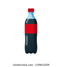 Bottle of soda. Cola in plastic tarre. Vector illustration flat design. Isolated on white background. Fast food drink symbol. Carbonated drink. Refreshing coca.