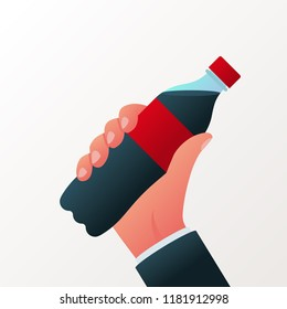 Bottle of soda hold in hand. Cola in plastic bottle. Vector illustration flat design. Isolated on white background. Fast food drink symbol. Carbonated drink.