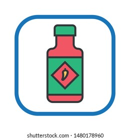 Bottle of spicy. Hot sauce. Vector illustration.