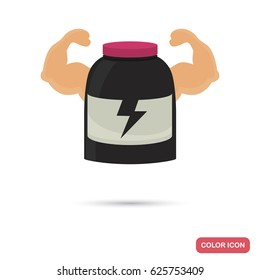 Bottle with sports nutrition color flat icon for web and mobile design