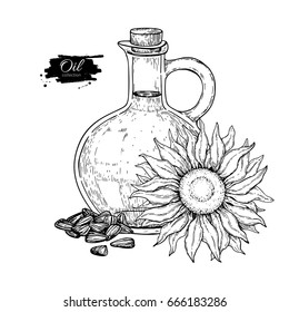 Bottle of sunflower oil with flower and heap of seed. Vector Hand drawn illustration. Glass pitcher vintage engraving isolated on white background. Great for menu, banner, label, logo, flyer