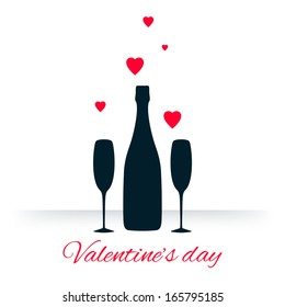 Bottle and two glasses of champagne with hearts on white background. Vector version.