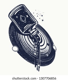 Bottle in universe. Tattoo and t-shirt design.  Surreal art. Concept of dreams, imagination, future
