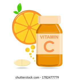 A bottle of vitamin C supplement with a slice of oranges, capsule and pills for nutrition, flat design vector and illustration
