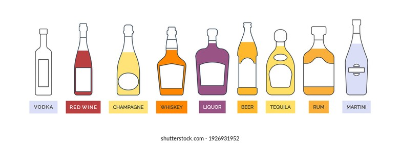 Bottle vodka red wine champagne whiskey liquor beer tequila rum martini line art in flat style. Alcoholic illustration. Contour element. Beverage outline icon. Isolated on white background. Vector.