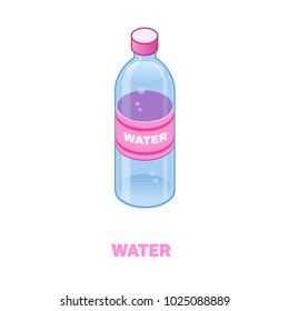Bottle of water color isometric style icon with outline, food concept illustration, vector eps10