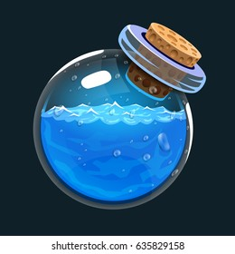 Bottle of water. Game icon of magic elixir. Interface for rpg or match3 game. Water or mana. Big variant. Vector illustration