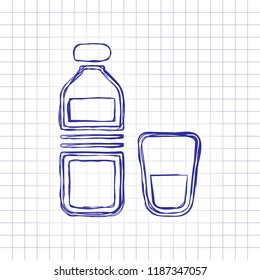 bottle of water and glass cup. simple icon. Hand drawn picture on paper sheet. Blue ink, outline sketch style. Doodle on checkered background