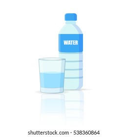 Bottle of water with glass isolated on white background.