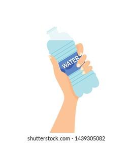 Bottle of water in hand. Vector illustration