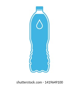 Bottle of water icon. Blue plastic bottle with drop sign isolated on white background. Vector illustration