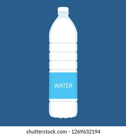 Bottle of water icon in flat style isolated on blue background. Vector illustration