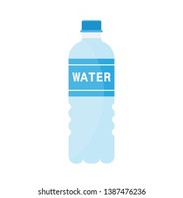 Bottle of water icon in flat style isolated on white background. Vector illustration