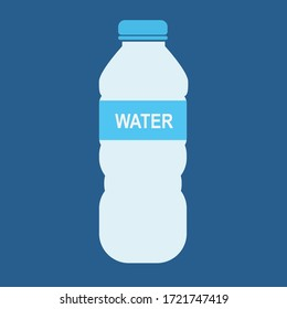 Bottle of water icon in flat style isolated on blue background. Vector Bottle. EPS