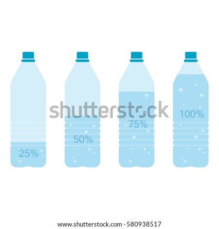 Bottle of water infographic. Nearly empty 25%, half 50%, nearly full 75%, full 100% bottle of water. Vector illustration