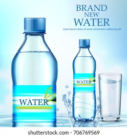 A bottle of water on a blue background. Vector illustration