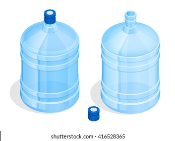 Bottle of water on a white background. Flat 3d isometric illustration. For infographics and design