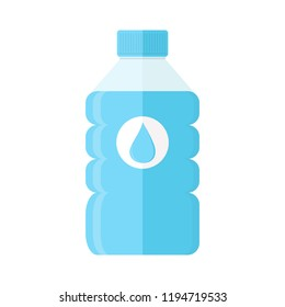 Bottle of water. Plastic bottle of fresh water icon in flat style. Vector illustration.
