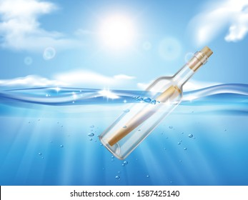 Bottle in wave realistic composition with shining sun on sky and sea with flowing glass bottle vector illustration