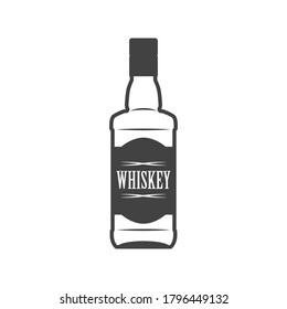 Bottle of whiskey flat line icon. Vector illustration isolated on white background