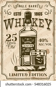 Bottle of whiskey with glass and cigar vintage poster for advertising institution or alcohol products presentation. Layered vector illustration with grunge texture and sample text