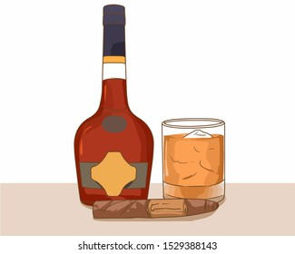 Bottle of whiskey with a glass with whiskey and ice and a cigar vector black objects or design elements on a white background. Vector ilustration.