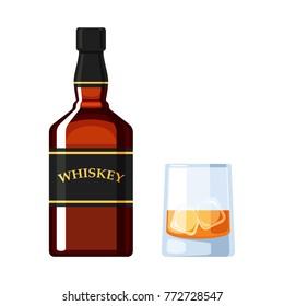 Bottle of whiskey and a glass of ice cubes. Vector illustration, isolated on white background for web design banner, poster or greeting card