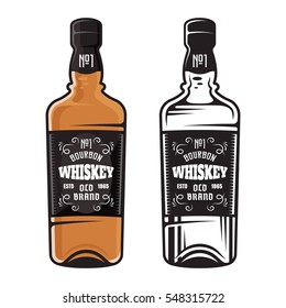 Bottle of whiskey two styles vector illustration colored and black isolated on white background