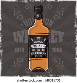 Bottle of whiskey vector colored illustration on dark background with texture and grunge frame