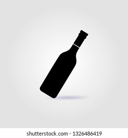 Bottle of wine black vector logo with soft shadow