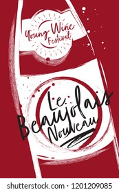 Bottle of wine close up. Etiquette and logo for the festival of young wine