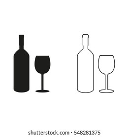 Bottle of wine and glass  - black vector icon