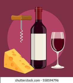 bottle of wine, glass of wine cheese and Corkscrew. Vector illustration in flat style For web, info graphics
