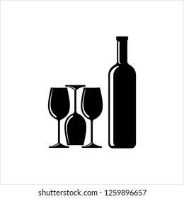 Bottle Of Wine And Glass Design Vector Art Illustration