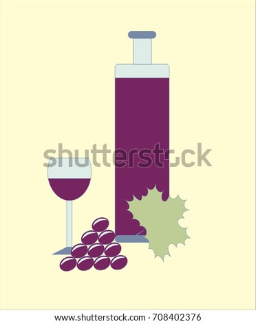 Bottle Wine Glass Grapes Design Stock Vector Royalty Free