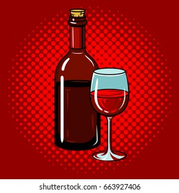 Bottle of wine with glass pop art hand drawn vector illustration.