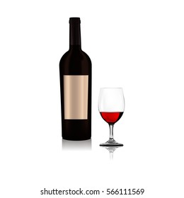 Bottle of wine, wine glass. Realistic vector illustration.