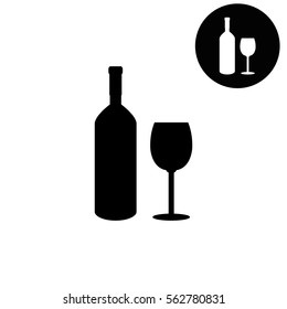 Bottle of wine and glass -  white vector icon