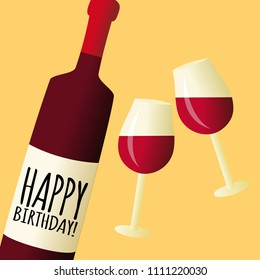 Bottle of wine with glasses, happy birthday vector greeting card illustration