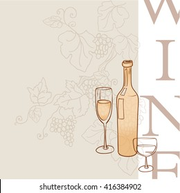 Bottle of wine and glass.vector