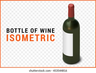 bottle of wine isometric flat vector 3d illustration isolated on white background