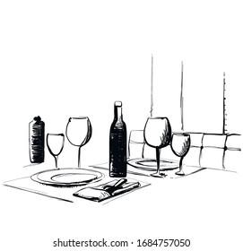 Bottle of wine on table. Glass. drink. sketch