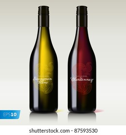 bottle of wine red and white vector eps10 image