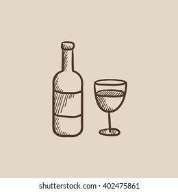 Bottle of wine sketch icon.